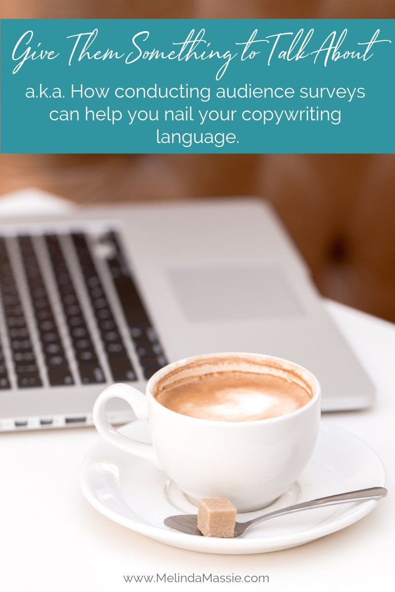 Give them something to talk about. How audience surveys can help your copywriting. - Melinda Massie blog