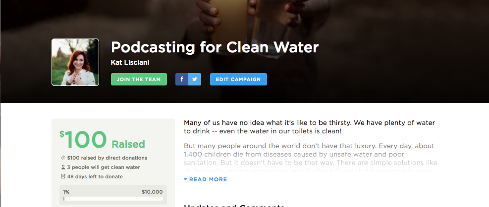 Join the campaign here!  https://my.charitywater.org/millennovation/podcasting-for-clean-water