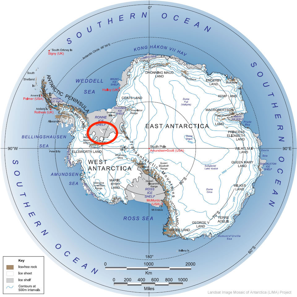 Antarctica with the area we worked in circled in red.