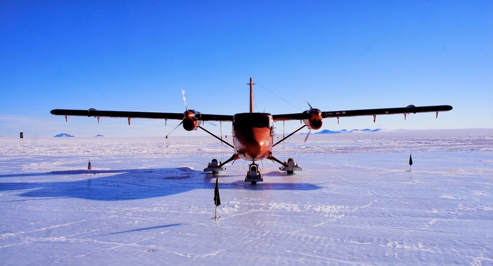 Twin Otter travelling through Sky Blu on the ice runway