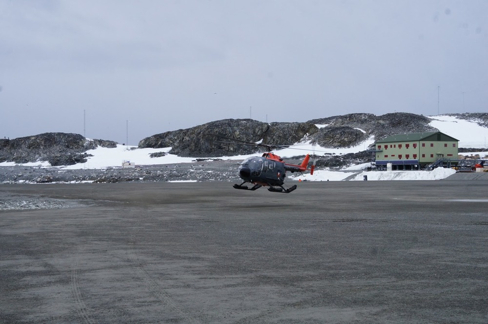 Helicopter landing on the Apron at Rothera