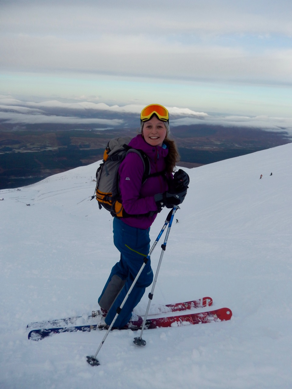 Mairi enjoying new skis at Nevis range