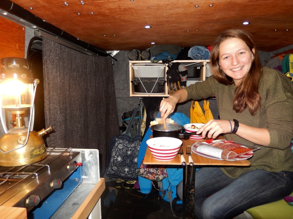 Cheese fondue back in the van!