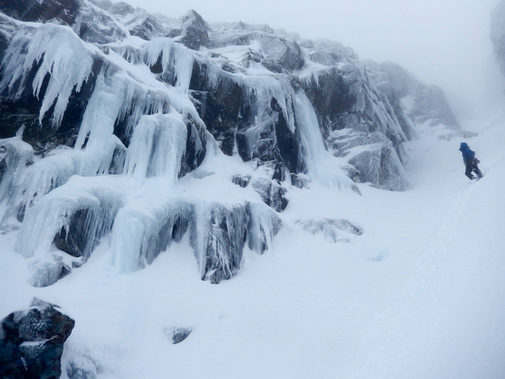 "Lots of great ice around!  Descending ""way up gully"""