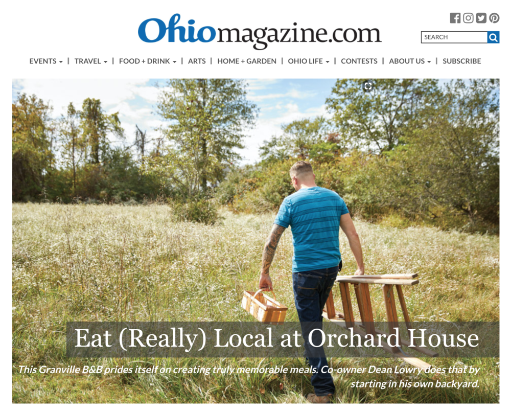 "Eat (Really) Local at Orchard House This Granville B&B prides itself on creating truly memorable meals. Co-owner Dean Lowry does that by starting in his own backyard. NOVEMBER 2017 BY RICH WARREN | PHOTOGRAPHY BY ERIC WAGNER, FOOD STYLING BY KATHLEEN DAY Your breakfast toast comes from Lucky Cat Bakery, just across the road. The eggs are courtesy of the free-range chickens wandering out back. Many of the herbs, fruits and vegetables that appear on your plate grew on-site, while most everything else came from farms and purveyors within a 20-mile radius. When it comes to eating local, Granville's Orchard House Bed and Breakfast takes the idea to a new level.  When Dean Lowry and Jodi Melfi purchased the 12-acre estate in 2015, they resolved to create truly memorable meals for their guests by highlighting what is fresh and available from their own backyard or what they can get nearby. Over time, the couple's suppliers have grown to include One Line Coffee in Granville, as well as Sunbeam Family Farm and Latshaw Apiaries in nearby Alexandria.  Exceptions are made for especially high-quality ingredients, such as dairy products from southern Ohio's Snowville Creamery. That's because locality isn't the only measure of whether an ingredient makes it onto the menu. Lowry, who serves as Orchard House's principal chef, carefully quizzes his potential suppliers, asking them about their farming practices and how their animals have been raised. He wants to know if produce is grown chemical free and if animals are raised humanely with access to sunlight and the outdoors.  ""For me, it's important that our suppliers raise their food ethically and with attention to the environment,"" Lowry says. ""We're looking for farmers who have a global mindset, who don't just live without regard to nature. We want to work with people who think globally and act locally.""        Orchard House Bed and Breakfast co-owner Dean Lowry prides himself on making great breakfasts with simple, local ingredients. (photo by Eric Wagner) He practices what he preaches, too. His herbs and produce are all grown organically, and Lowry works hard to make sure his chickens are happy.  ""I want them eating bugs, grass, maybe even an occasional apple or leftover pizza crust,"" he says.  Experience has taught him happy chickens will produce higher-quality, better-tasting eggs. And that's the ultimate goal: sheer flavor. Lowry's attention pays off at the breakfast table, where the meals change as the seasons turn. This time of year, autumn's bounty appears in dishes like Lowry's sweet potato hash or the B&B's famous Dutch baby, an apple pancake made in a cast-iron skillet and cooked in the oven.  French toast is another seasonal favorite, prepared in both savory and sweet varieties, using frozen cherries, peaches and apples picked out back during the summer. The cinnamon roll pancake is popular with kids, and the baked polenta with crumbled sausage and cheddar cheese is a year-round favorite.  Lowry's eclectic approach to his menu carries over to the bed-and-breakfast itself. He and Melfi decorated the 1850s brick Italianate structure with a pleasing blend of antiques from around the world and contemporary artwork — a style they call ""cosmopolitan country.""  ""We didn't want to be your grandma's dusty quilts kind of B&B,"" says Lowry, a former IT technician from Detroit who met Melfi, a Granville graphic artist and designer, online. ""So we worked in modern, local artwork to liven things up.""        Eggs on the B&B's menu come from the free-range chickens wandering out back. (photo by Eric Wagner) Although not formally trained as a chef, Lowry is a longtime foodie who loves devising new dishes. When he finds a recipe that intrigues him, he plays with flavors and textures until he gets it right. Finding that the poblano peppers he originally used in his sweet potato hash weren't to all his guests' liking, he substituted just a touch of powdered cayenne and smoked paprika.  For culinary inspiration, Lowry watches cooking shows such as Food Network's ""Chopped,"" which challenges four chefs to concoct original dishes using unusual combinations of ingredients, such as asparagus hearts and gummy bears.  ""I find myself watching what they make and thinking, Oh wow, without the gummy bears, I could make that,"" he says. And then he does. Orchard House's guests give a hearty thumbs-up to Lowry's flavorful breakfasts. Visitors Jarret and Emily Holley of Columbus especially appreciate the locality of the food he prepares.  ""I'm originally from Nevada, where it's almost impossible to find local food, so I really enjoy knowing what I'm eating comes from close by,"" says Jarret, with Emily adding that the couple likes to frequent restaurants in Columbus that embrace an eat-local approach. Zach and Danielle Winning of Cincinnati were visiting Orchard House this September for the third time. ""We're obsessed with Dean's food,"" Danielle says. ""It tastes fresher, and it's fancier, although it's a simple kind of fancy. Best of all, I don't have to make it myself."" For those wishing to emulate Orchard House's culinary approach in their own kitchens, Lowry has straightforward words of advice. ""Always use the freshest, best-quality ingredients,"" he explains. ""I stress natural over organic: food that's been grown or raised without pesticides, additives and that's been minimally processed and tampered with.""  Above all, Lowry says, simple ingredients are the best. You only have to lift a forkful of one of his morning creations to know that simple translates to scrumptious. 4058 Columbus Rd., Granville 43023, 740/651-1850, orchardhousegranville.com"