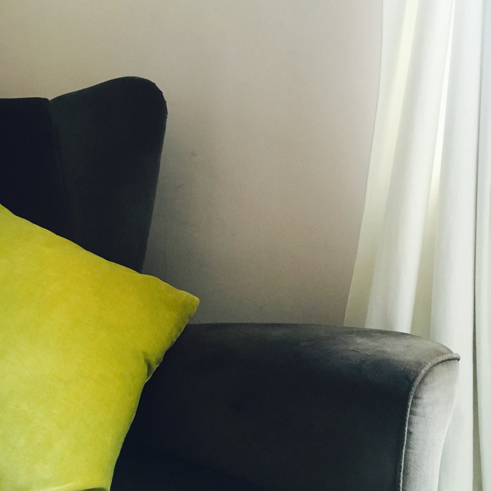 Double-sided velvet Kirsten Hecktermann cushion in Lemon Yellow