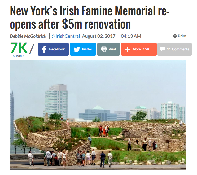 Manhattan Memorial - a metaphor for Ireland's Great Hunger, a reminder that hunger exists today.