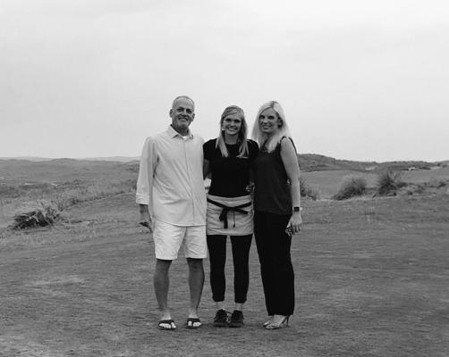 Steve Sears, Board Member (Left), Brenna Schafter, 2017 Recipient (Center) and Melissa Bellomo, Board Member (Right) at Ballyneal.
