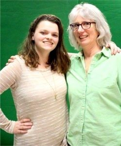 Alyssa with her teacher, Sally Hoople.