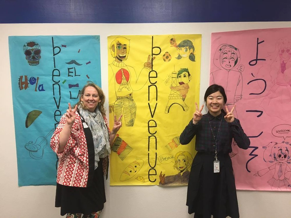 Teachers Carla Swick & Miharu Hayazaki welcome the community to Palmer High School.