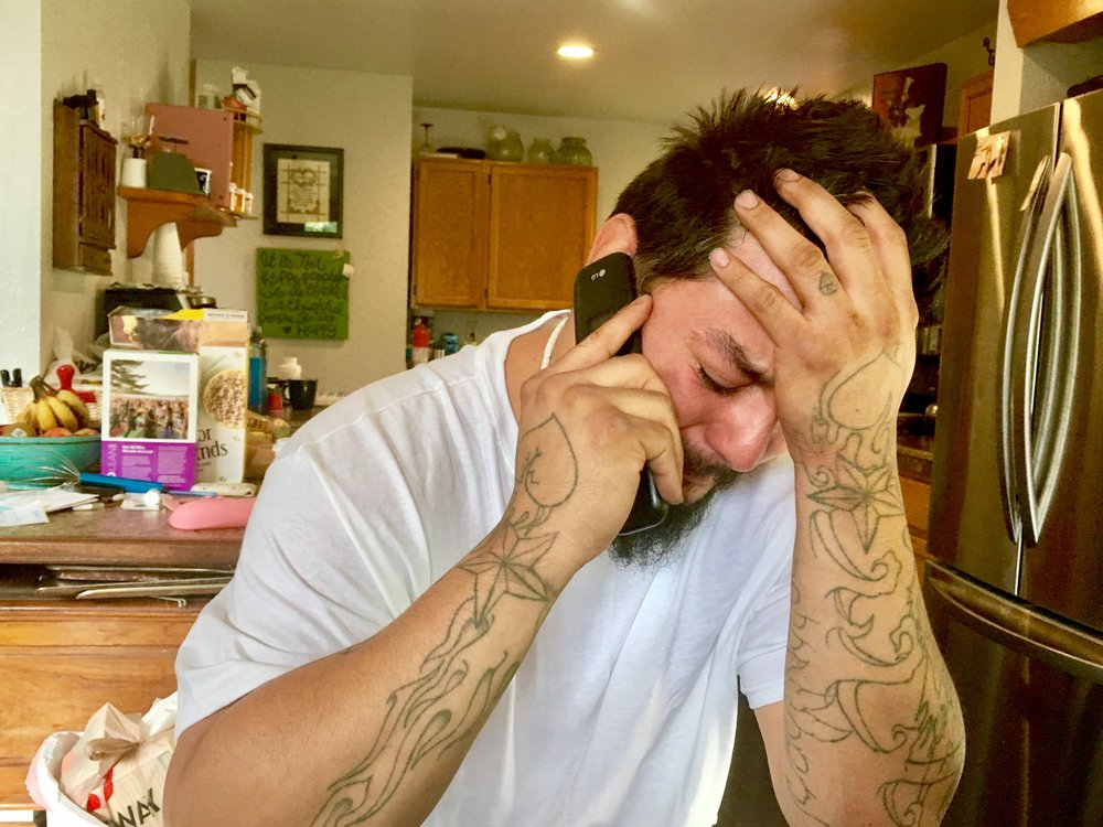 Jimmy Flores Receives Phone Call From His Mother, One of Several Waves of Grief and Emotion During our Conversation.