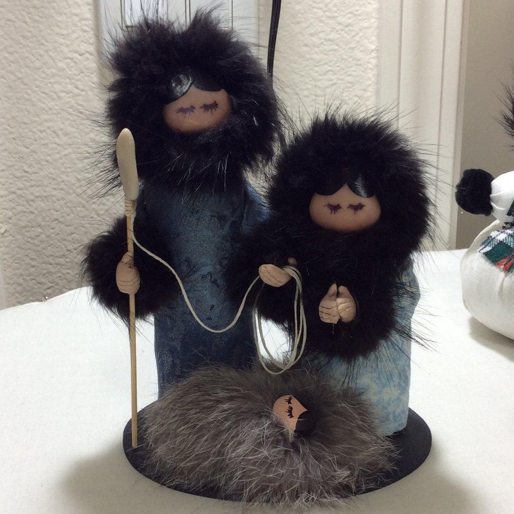 Alaskan Nativity Scene with Beaver Fur Trim