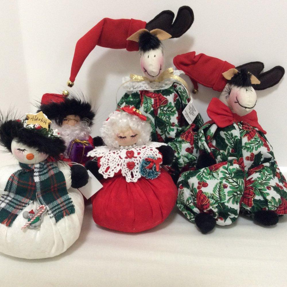 Christmas Moose & Shelf-Sitting Dolls