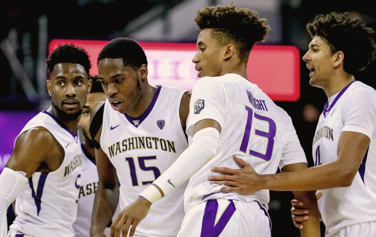 Nowell (5, far left), Dickerson (15), and Thybulle (4, far right) form an outstanding trio for the Huskies. Oh, Hameir Wright (13) is on the team, too.