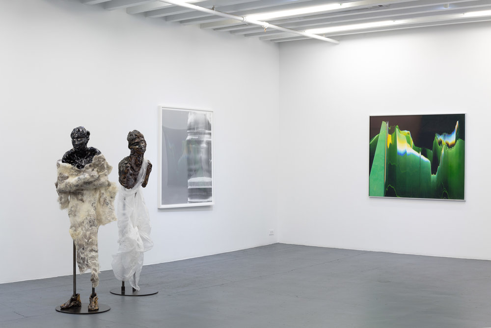 Installation view with works by Rochelle Goldberg