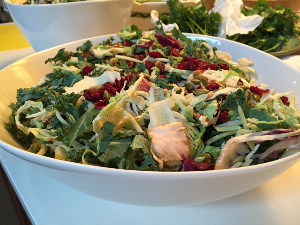 A salad dish prepared during a cooking class for mothers held by local holistic nutritionist Sara Siskind (credit: joy april robinson)