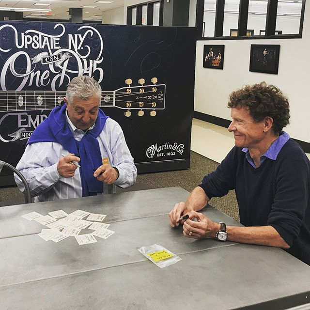 Rudy was back at the @martinguitar factory today to sign some labels with Chris Martin... These will go into the twelve Rudy's 40th Anniversary Custom Shop Martin guitars. The actual pieces of wood were hand-picked by Rudy, and each guitar will have a personally-signed and numbered label. We always have the best time when we visit our friends in Nazareth, but today was extra special. • • • • #martinguitar #martinpride #martincustomshop #rudysmusic #40yearsinbusiness