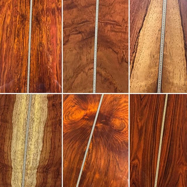 "Coming soon... We commissioned twelve guitars to be built by the @martinguitar #customshop to commemorate our history. Here's a sneak peek at some gorgeous #tonewood for the Rudy's Music 40th Anniversary Martin guitars. You're looking at six different backs of guitars, some are cocobolo and some are Guatemalan ""Rare Rose."" A total of twelve are being made and each will be numbered and personally signed by Rudy and Chris Martin. We're taking pre-orders so if you'd like to know more, come visit or give us a call! • • • • #martinguitar #martinpride #martincustomshop #tonewood #cocobolo #guatemalanrosewood #rudysmusic #40yearsinbusiness"