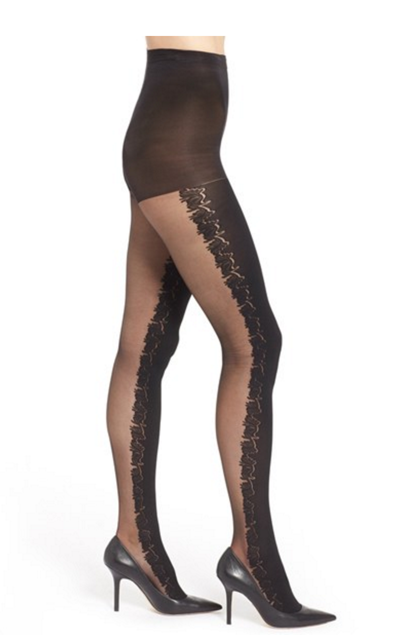 HUE Baroque Control Top Split Tights