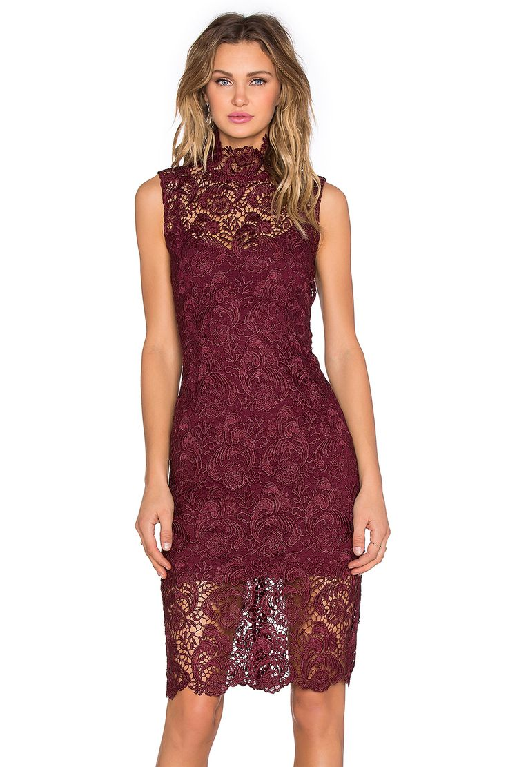BLAQUE LABEL High Neck Lace Dress in Wine