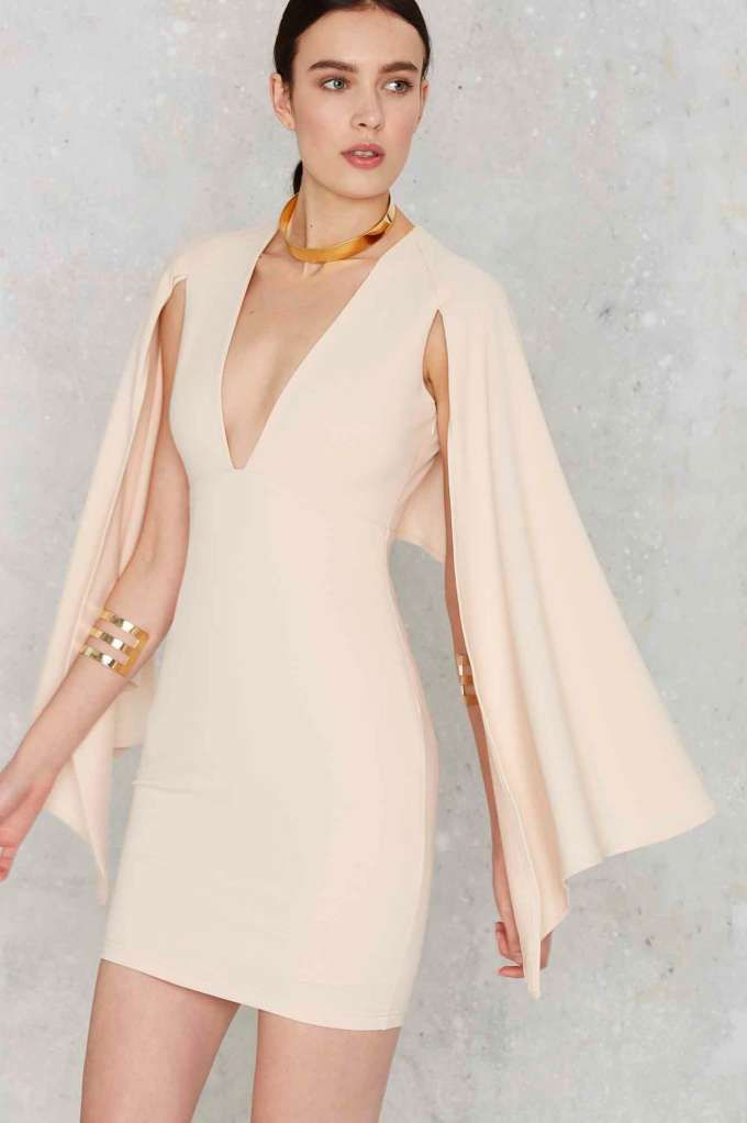 Kendra Plunging Cape Dress - Nude