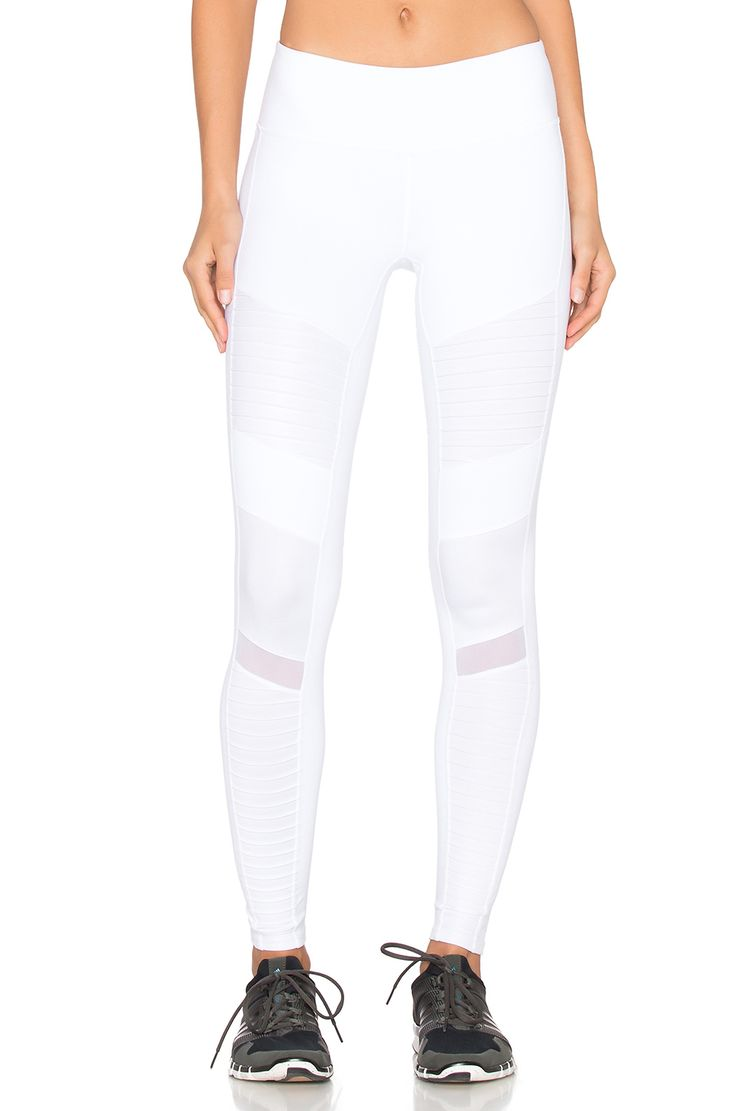 alo Moto leggings in white & white glossy