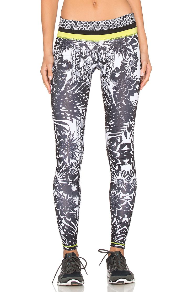 Pink Lotus Locate Contrast Band Printed leggings