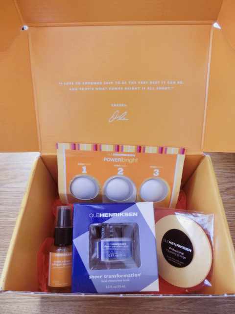 Ole Henriksen VoxBox from Influenster products: (clockwise from the top) Ole Henriksen POWER Bright, Ole Henriksen Complexion Sponge, Ole Henriksen Sheer Transformation and Ole Henriksen Truth Serum Vitamin C Collagen Booster. I received these products complimentary for review.