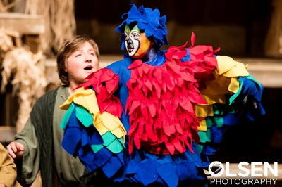 Parrot costume designed by Miranda for Noah's Ark one-act production.