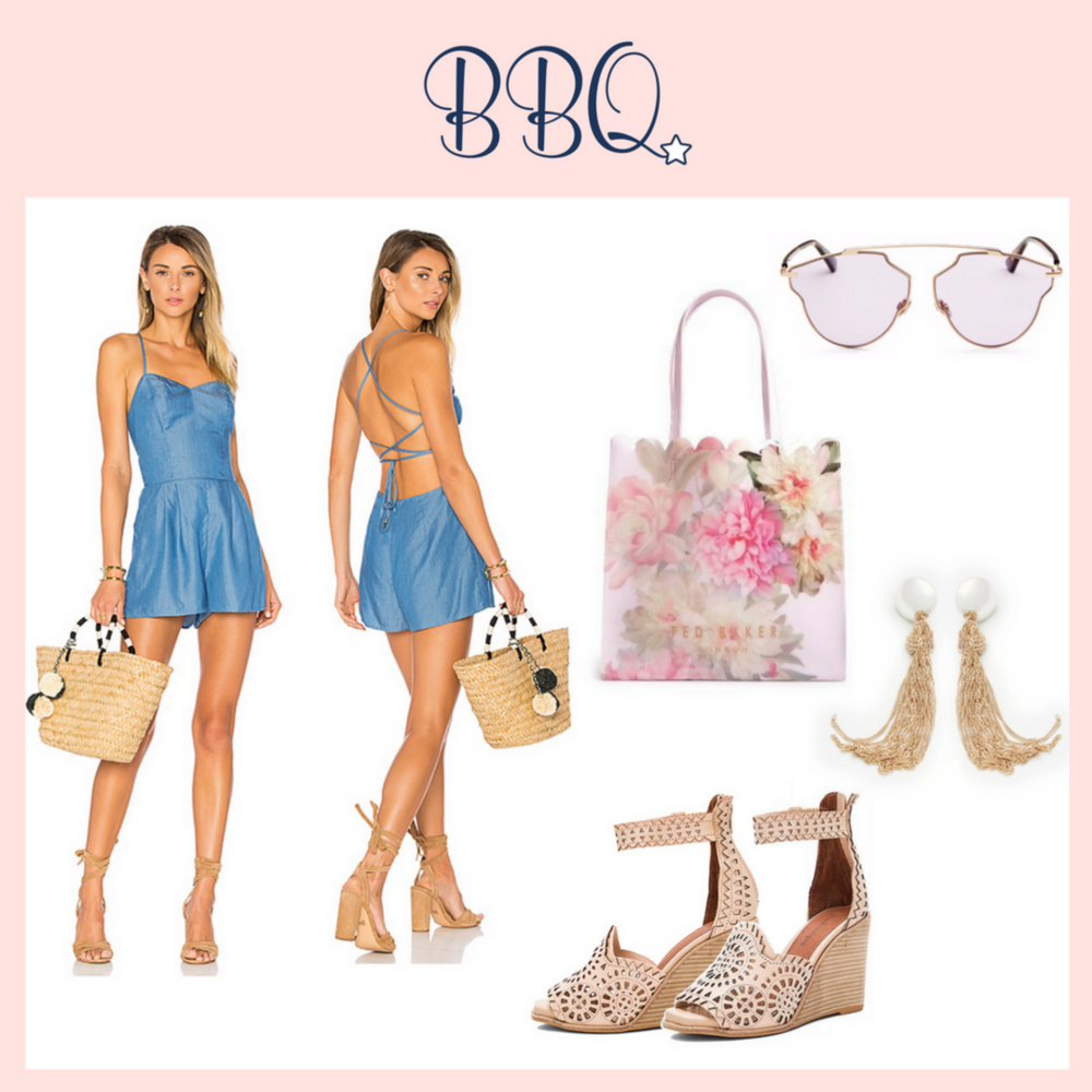 OUTFIT DETAILS *> Lovers + Friends Denim Lace-Up Back Anna Romper *> Dior So Real 59mm Pantos Sunglasses *> Ted Baker London Pink Painted Posie Large Icon Bag *> Free People Downtown Tassel Earrings *> Jeffrey Campbell Leather Cut-Out Del Sol H Wedges