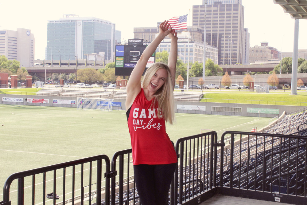 hello ruby game day vibes muscle tee