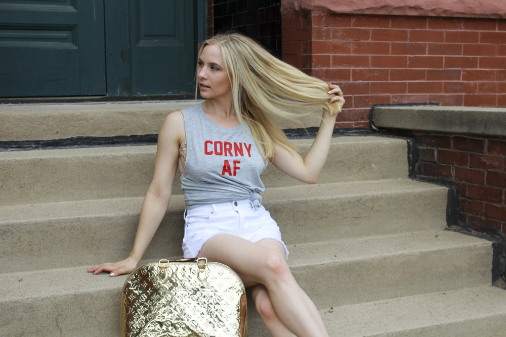 hello ruby Husker Collection corny AF muscle tee by the daily tay