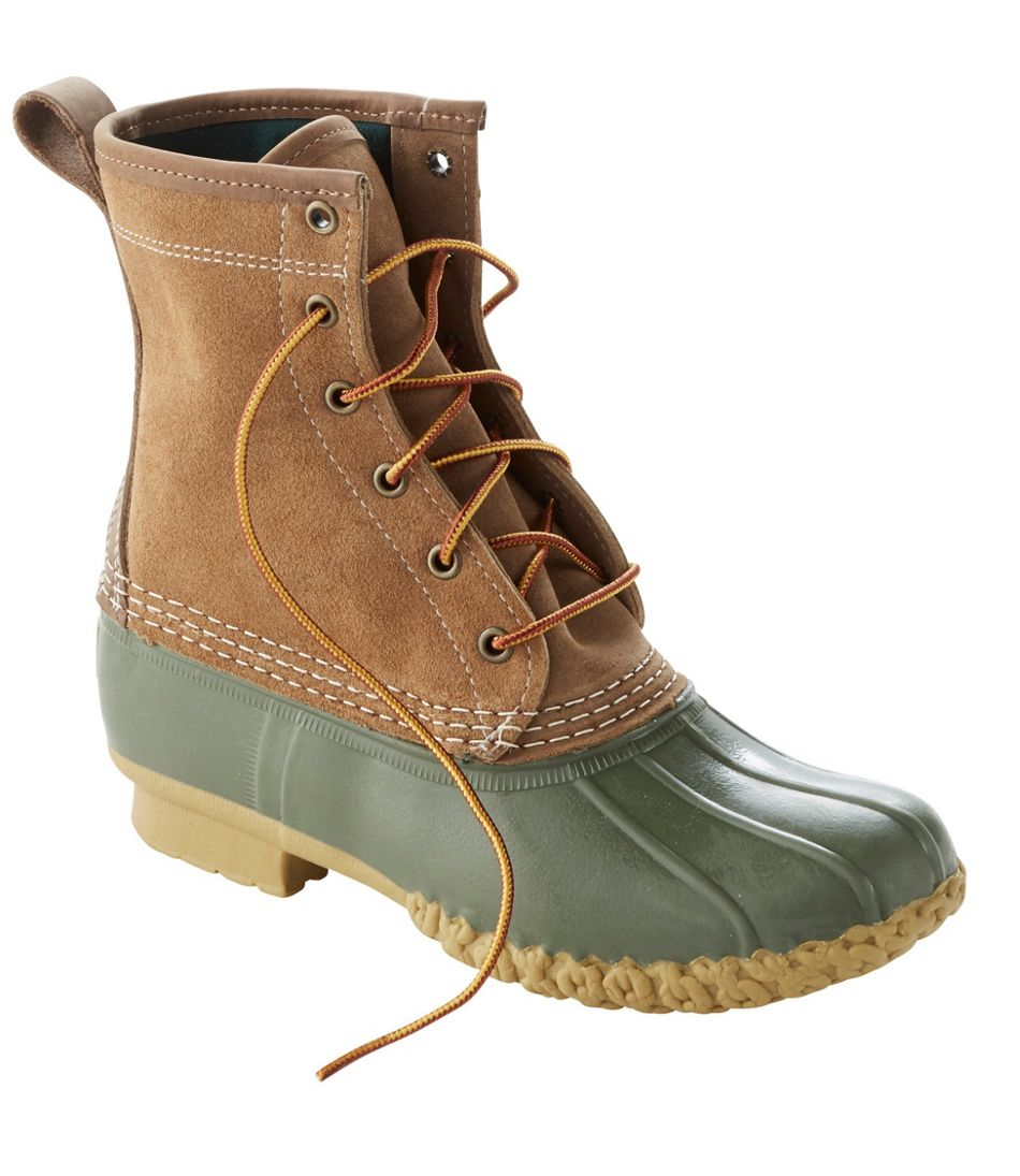 L.L. Bean Duck Boot, Leather Chamois-Lined in Olive