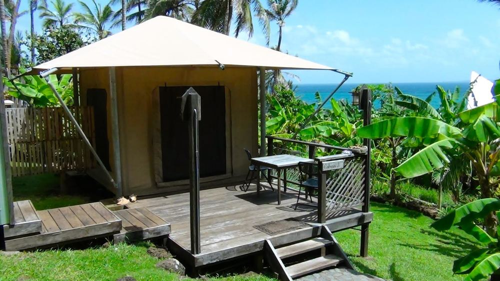 One of our well constructed cabins set in among the lush gardens. All our cabins offer spectacular, panoramic views to the ocean.