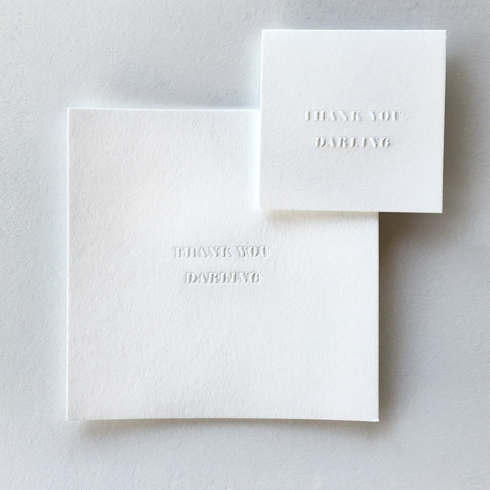 Our blind embossed Thank You Darling Large (macho) and Mini (poco) cards exclusive to The Charity Market by The Divine Addiction.