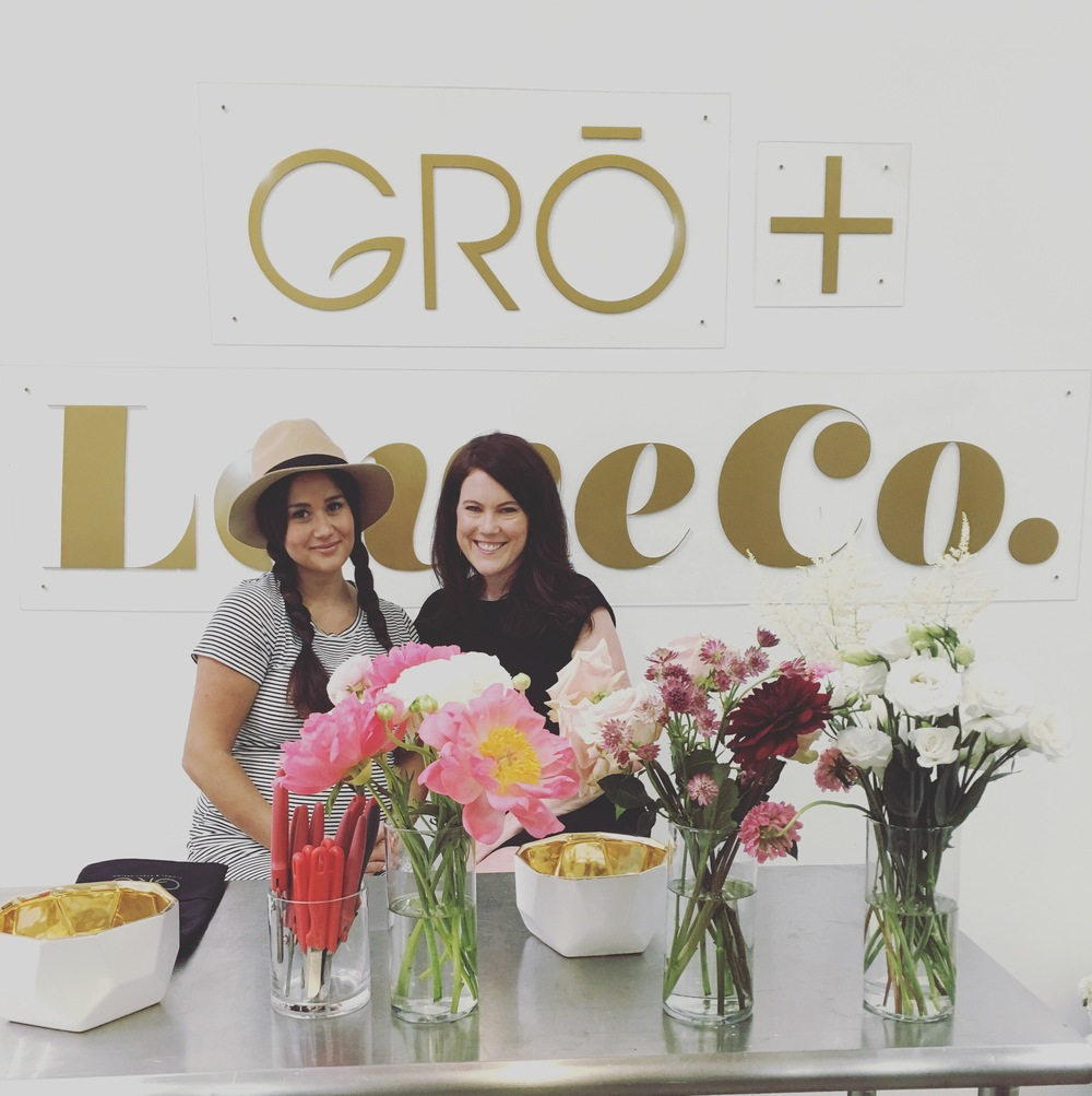 Catherine Giudici Lowe of LoweCo. and Krisi Johnson of GRŌ designs at the Spring Floral Class on May 1, 2015.