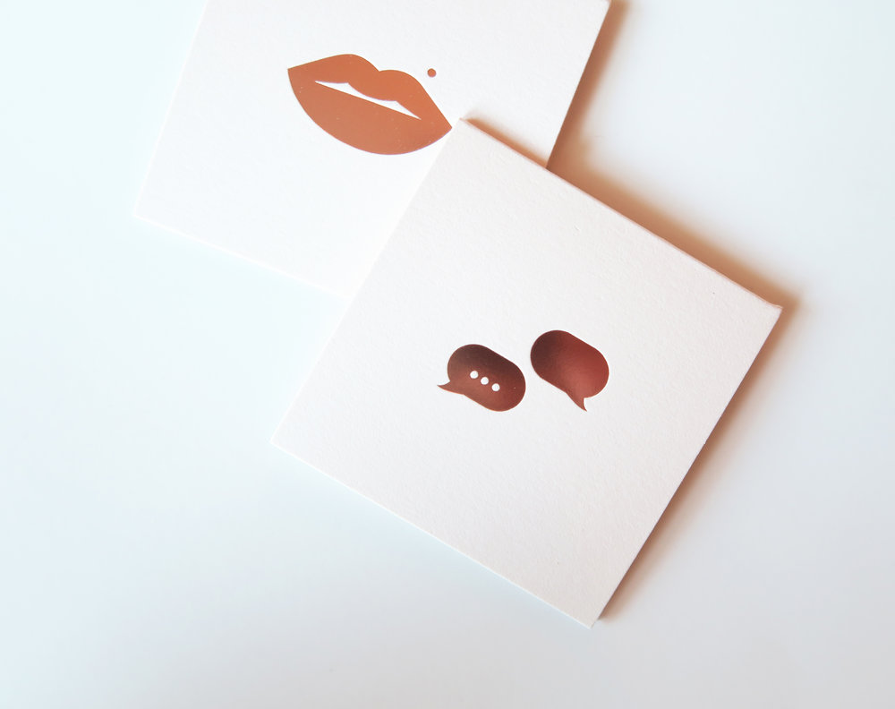 Our limited-edition blush cards with rose-gold foil icons on Strathmore cotton stock.