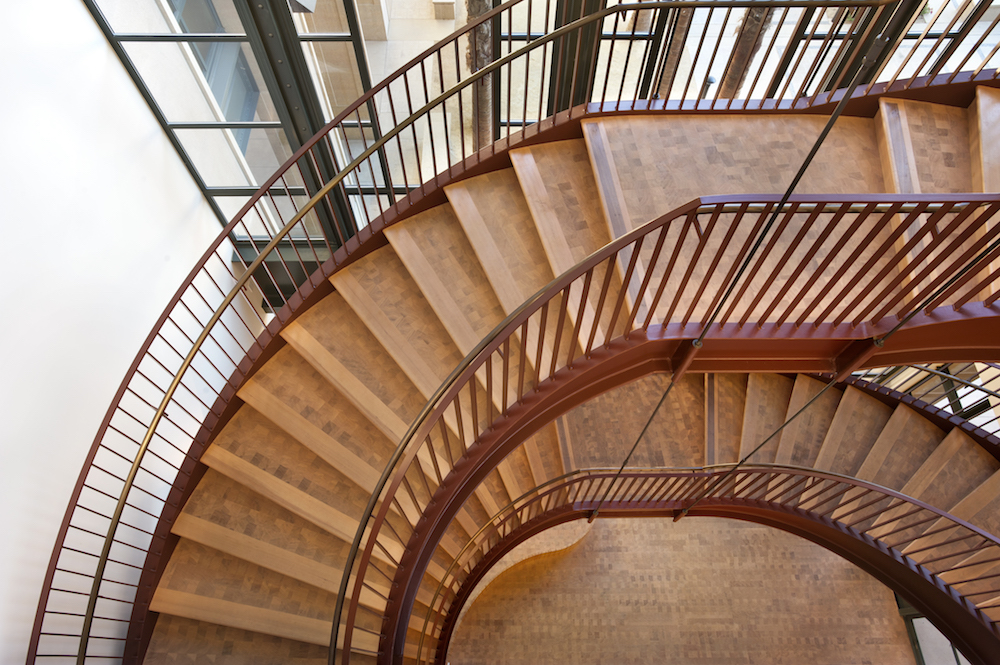 Curved stair assembly; Stanford Institute for Economic Policy Research, Stanford University; Vance brown