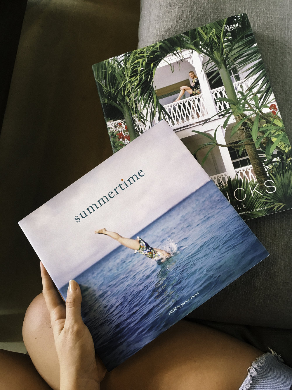 You can purchase  'Summertime' by Joanne Dugan  &  'Island Style' by India Hicks  at these links.
