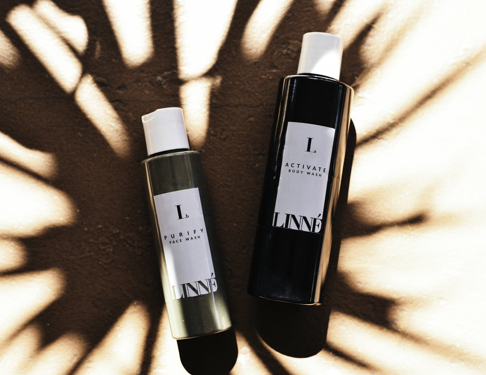 Linne Botanicals Purify Face Wash & Activate Body Wash.