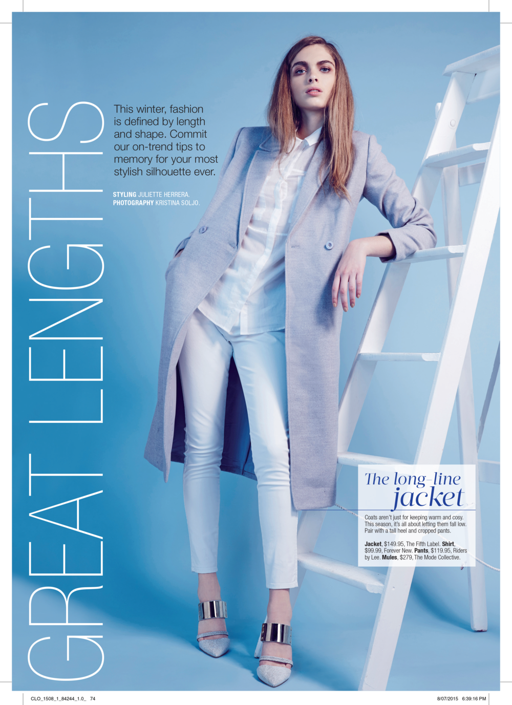 """Featured in Cleo Magazine - """"Great Lengths"""" Styled By Juliette Herrera"""