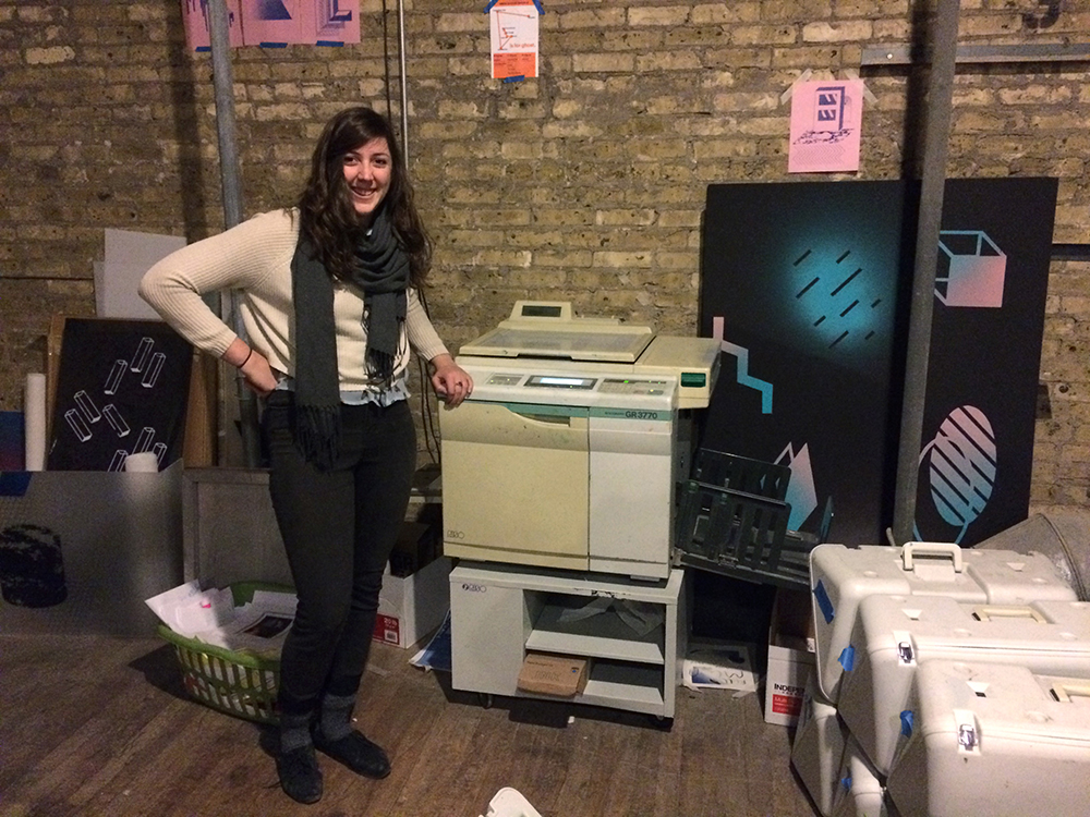 Stephanie Gage with her risograph printer at After School Special.
