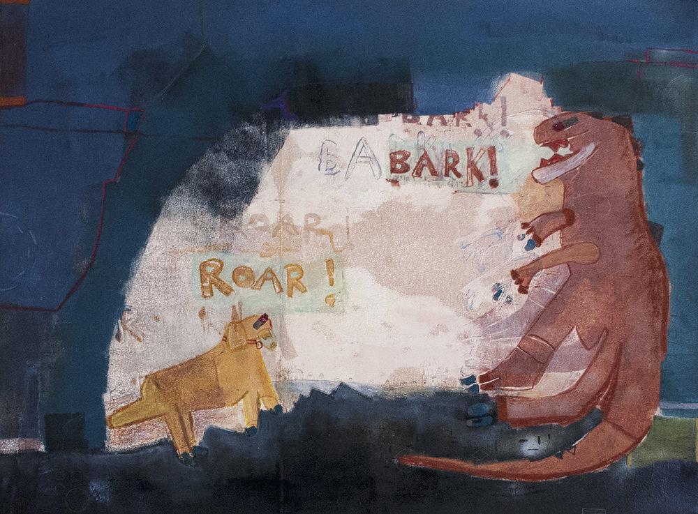 """Bark vs. Roar   30"""" X 22"""""""