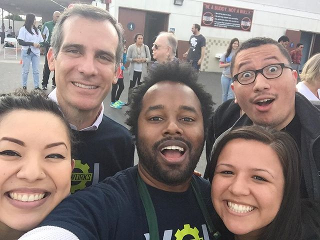 Just taking a picture with some new and old friends @ericgarcetti @heysia @tabeebjuha #laworks #mayor #losangeles #ericgarcetti #mlkday #mlk #volunteering