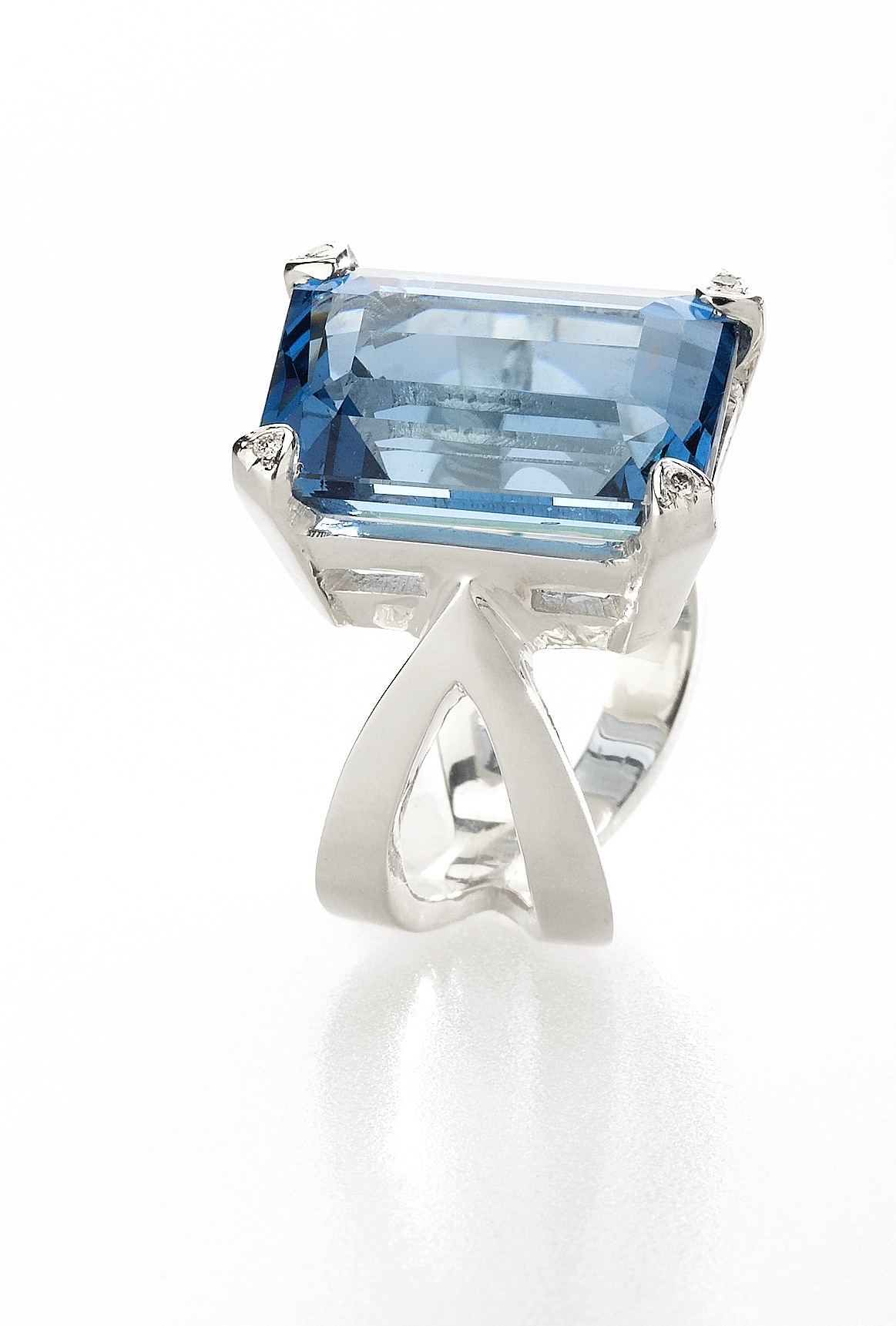 Blue Topaz and Diamond Infinity Cocktail Ring