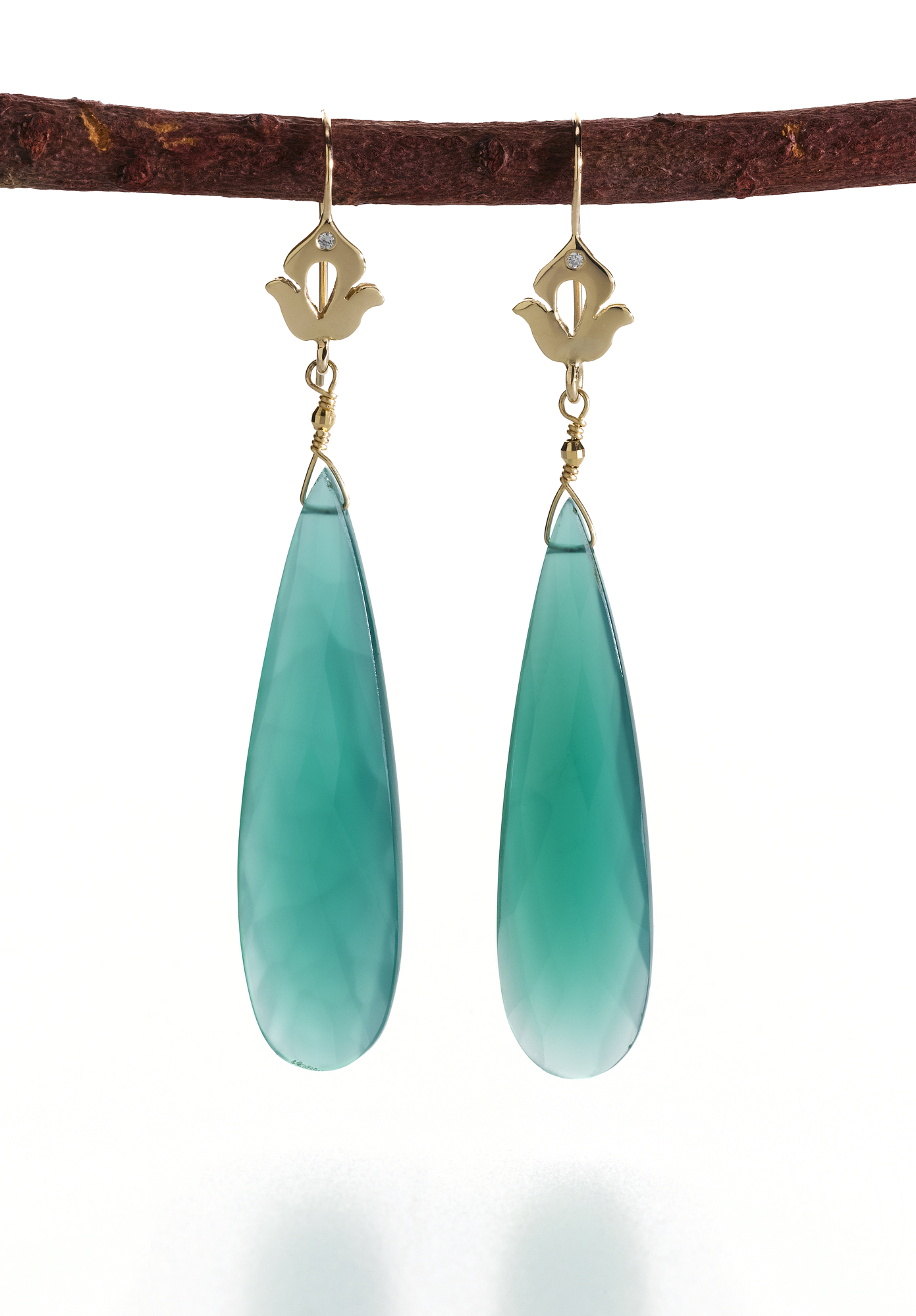 Shamila Green Onyx and Diamond earrings, Suzanne Marques, Emmy Jewelry
