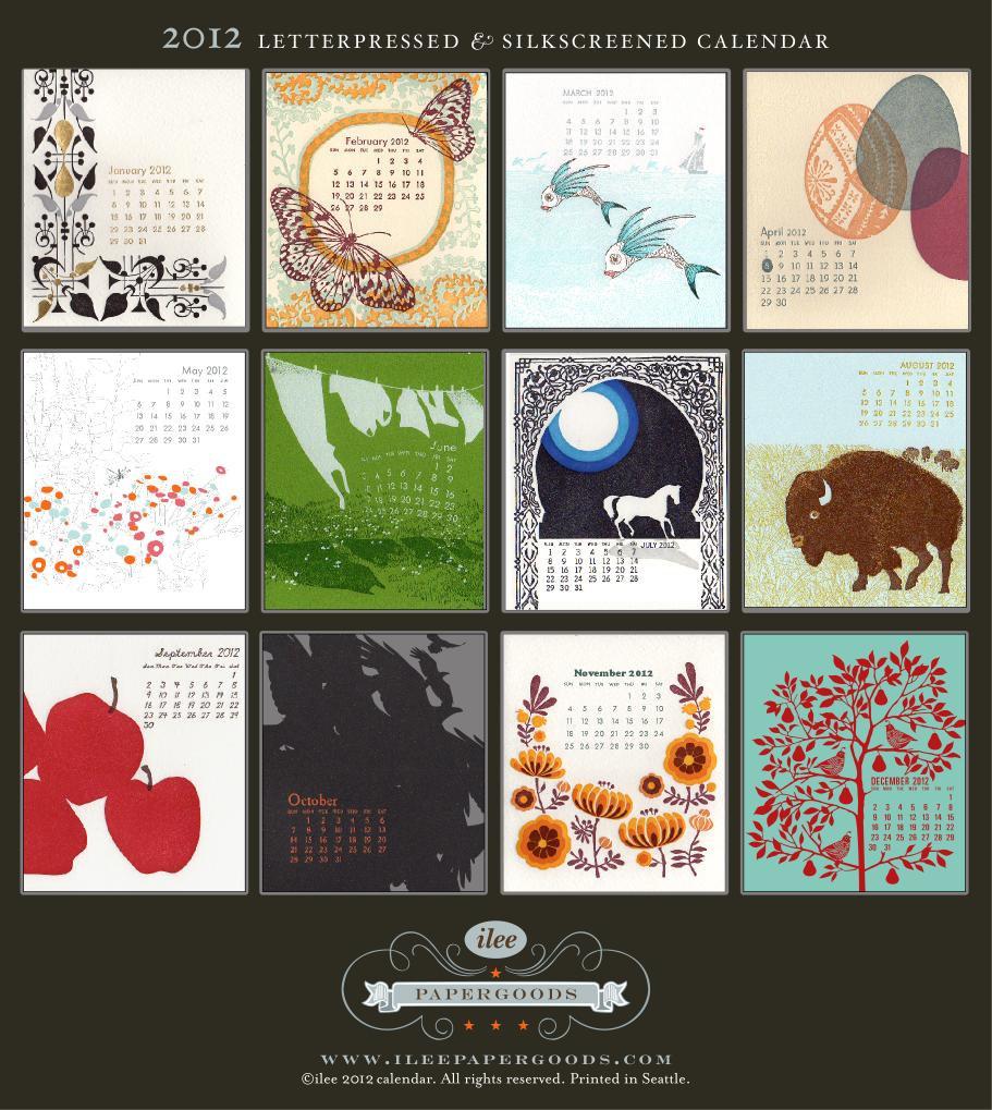 Ilee letterpress calendar 2012