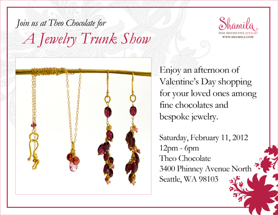 Theo Chocolate and Shamila Fine Jewelry Valentine's Day Trunk Show