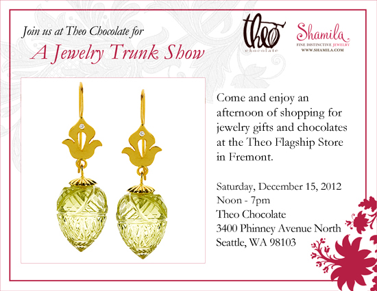 Holiday Trunk Show at Theo Chocolates in Fremont - Saturday Dec, 15th 2012