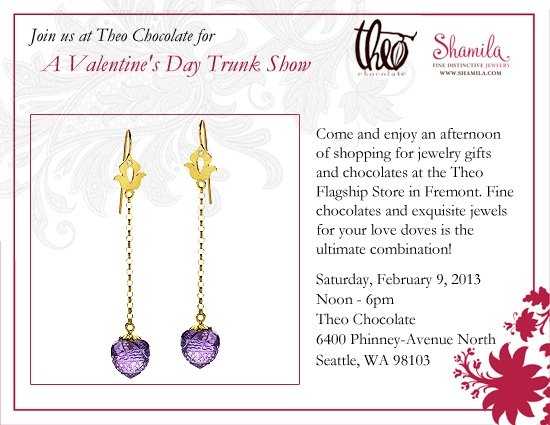 Valentine's Day Trunk Show at Theo Chocolate: Saturday February 9th